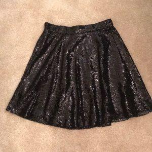Black Sequin A line skirt